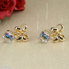 E9 Wedding Prom Party Gold Plated Austrian AB Cube Crystal Bow Stud Earrings