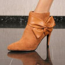 Ladies Velours Ankle Boots With Heel And Bow Camel #FR-1207