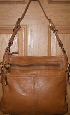 Long Live Vintage Brown Leather Fossil Hobo Shoulder Bag Purse & Large Key Fob