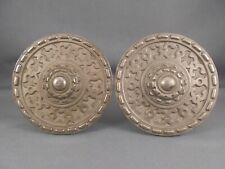 "Pair Antique Ornate Metal Curtain Tiebacks 3 1/4"" Diam"