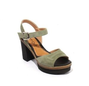 MOT-CLe 1692 Green Black / Suede Ankle Strap Platform Heel Sandals 38 / US 8