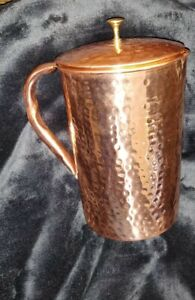 100% Pure Copper Hammered Water Jug With Lid New Copper Indian Ayurveda Product
