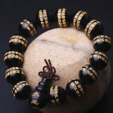 14mm Black Sandalwood Buddhist Diamond Sutra Meditation Prayer Beads Bracelet #0