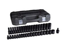 "GearWrench 84948N 1/2"" Dr 6 Pt Metric, Standard/Deep Impact Socket Set, 39Pc"