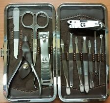 12 Pcs London Professional Manicure Pedicure Set Travel Grooming Kit With Case
