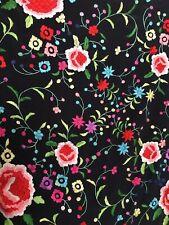 Vintage Antique Spanish Flamenco Embroidery Silk Shawl  - Square Shape