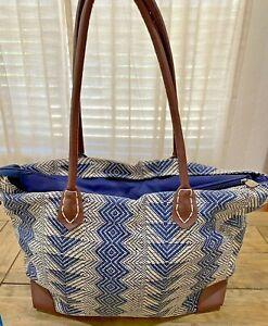 Sun 'n' Sand Woven Straw Bag Geometric Stripe Beach Tote Shopping Bag w Lining