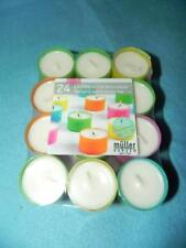 Muller Kerzen Color Clear Cup Tealight Candles, 6 hr. burn time, 24 New in Pkg.