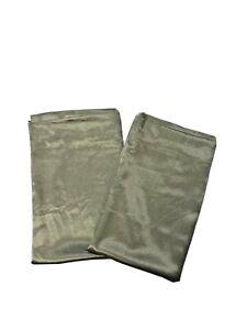 "2 Royal Velvet JC Penney Sage Green Curtains Panels 72"" Textured Satin Luxury"