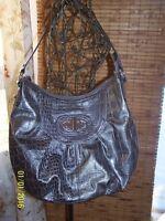 XOXO Medium size HandBag Purse Hobo Shoulder Bag GRAY Crocodile Look shiny