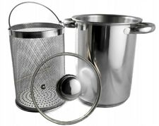 Stainless Steel Pasta Pot & Veg Casserole Pan Set Sieve 24cm FAST FREE