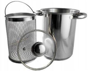 Stainless Steel Pasta Pot & Veg Casserole Asparagus Pan Set Sieve 24cm FAST FREE