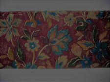 SEWING-CRAFT-FABRIC 12mtrs x 10cm Short Width Burgundy/Blue Floral Print