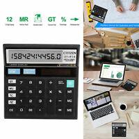 Desktop Battery Basic Calculator Office Business Home Big Large Display 12-Digit