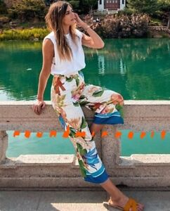 NWT Zara Floral Tropical Printed Top Blouse Trousers Pants Co Ord Set Suit M L