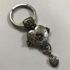 "Brighton Two-Tone Silver / Gold Crystal Heart Keychain ""I wonder"""