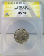 1931 S Buffalo nickel ANACS MS63 *DDR-002 FS 801* BR