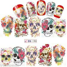 Nail Art Water Decals Full Wraps Halloween Skulls Flowers Roses Gel Polish (190)