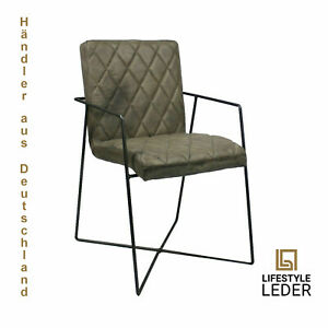 "Echtes Büffelleder-Stuhl Grau ""Capri"" auf Metallstab-Konstruktion 100%Handarbeit"
