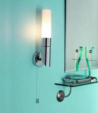 POLISHED CHROME IP44 BATHROOM WALL LIGHT WITH PULL CORD SWITCH OPAL GLASS SHADE