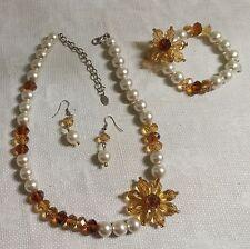 """Faux Pearl Topaz Crystal Flower 21""""  Necklace Wire Pierced Earrings Bracelet Set"""