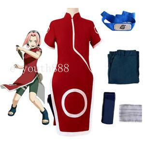 Hot Cosplay Anime Haruno Sakura Costume Unifrom Outfit Wig Halloween Skirt Suit
