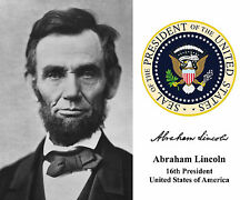 Abraham Lincoln 16th President Presidential Seal Autograph Photo Photograph