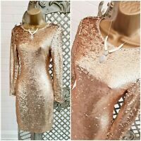 OASIS 💋 New £58 Gold Glitzy Sequin Encrusted Pencil Cocktail Mini Dress UK XS