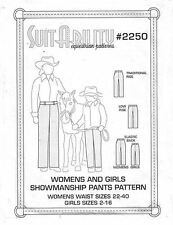 HORSE  WESTERN SUITABILITY WOMENS  GIRL  SHOWMANSHIP  PANTS SEWING PATTERNS 2250