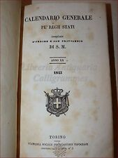 REGNO SARDEGNA - CALENDARIO GENERALE per REGII STATI 1843 Torino Savoia Legatura