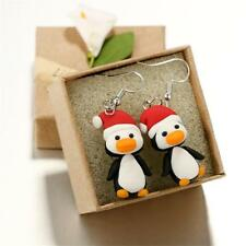 Handmade Polymer Clay Soft Christmas Cute Penguin Pattern Earrings Jewelry Gifts