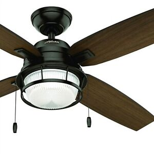 Hunter Fan 52 inch Outdoor Ceiling Fan w/ LED Light & Four Roasted Walnut Blades