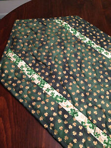 Handcrafted-Quilted Table Runner-St. Patrick's Day - Shamrocks  DarkGreen & Gold