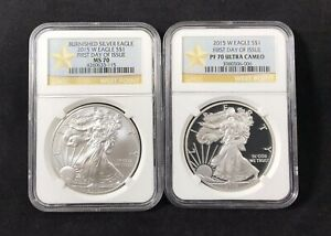 2015 W Burnished 1oz Silver Eagle First Day of Issue NGC MS70 -FDI Label