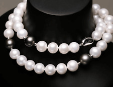 "HUGE 22""11-12mm south sea genuine white round black multicolor pearl necklace"
