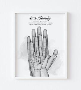 Family Children Hands Palm Quote Print Keepsake Wall Art Gift UNFRAMED