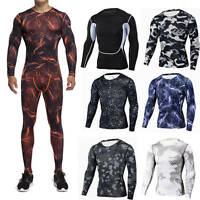 Mens Workout Compression Sport Suit Apparel Base Layers Set Long Pants T-shirts