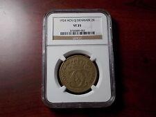 1924 Denmark Danmark 2 kroner coin NGC VF-35 Key Date!