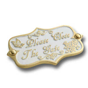Please Close The Gate Brass Door Sign.  Vintage Shabby Chic Style Home Décor