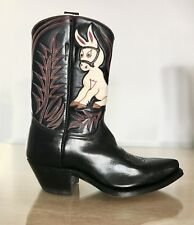VINTAGE shorty Donkey INLAID WESTERN PEE WEE COWBOY BOOTS  WOMENS rare 5 6 7 8