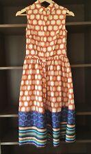 60s Inspired Cotton Shirt Dress Size S 8 Mango Suit Orange Geometric Print Retro