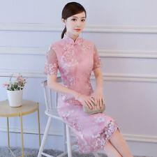 Vestido de encaje Seda Mujer Chino Doble Vestido de noche fiesta Niñas Vestido Cheongsam Qipao