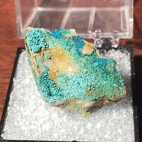 SPANGOLITE & Brochantite on Quartz (TN) - Mex-Tex Mine, Bingham, New Mexico