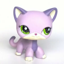 LPS Toys Rare Littlest Pet Shop Purple Short Hair Cat Green Eyes Animals Figures