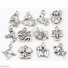 Lots 24Pcs Tibetan Silver Constellation Charm Beads Fit European Chain Bracelet