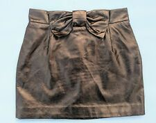 H&M Faux Leather Bronze Gold Brown Mini Skirt With Bow 38 As New fits 8 10