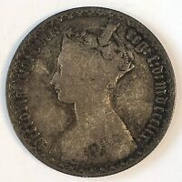 1859 Great Britain Florin Silver Coin - Nice Color- High Quality Scans #D136