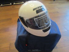 NEW KBC Motorcycle Helmet White Clear Open & Close Shield Visor Size MED TK-77
