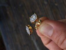Mens Ladies 18K Gold Filled 0.15 ctw Lab Diamond Screw Back Stud Earrings 10mm