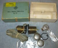 Vintage TELEFUNKEN D 77 Gold Tone Mic Stereo Microphone w/Box As Is J446